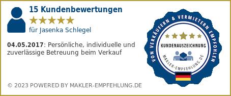 Qualitätssiegel makler-empfehlung.de für Jasenka Schlegel