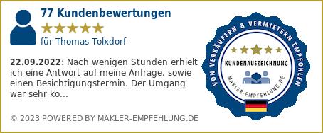 Qualitätssiegel makler-empfehlung.de für Thomas Tolxdorf