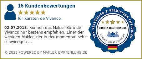 Qualitätssiegel makler-empfehlung.de für Karsten und Claudio de Vivanco