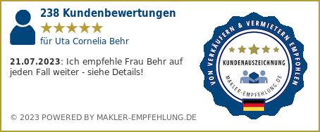 Qualitätssiegel makler-empfehlung.de für Uta Cornelia Behr