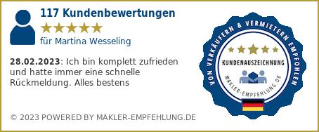 Qualitätssiegel makler-empfehlung.de für Martina Wesseling