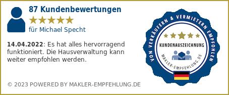 Qualitätssiegel makler-empfehlung.de für Michael Specht