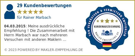 Qualitätssiegel makler-empfehlung.de für Rainer Marbach