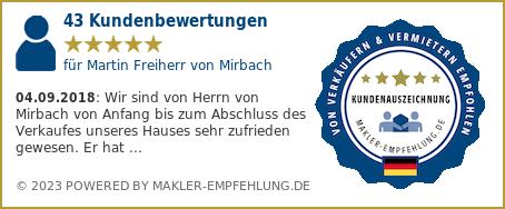 Qualitätssiegel makler-empfehlung.de für Martin Freiherr von Mirbach
