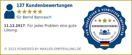 Qualitätssiegel makler-empfehlung.de für Bernd Bannasch
