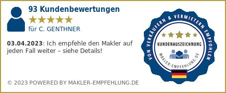 Qualitätssiegel makler-empfehlung.de für C. GENTHNER ICG