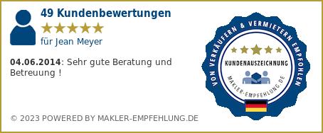 Qualitätssiegel makler-empfehlung.de für Jean Meyer