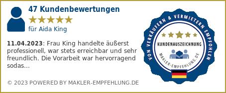 Qualitätssiegel makler-empfehlung.de für Aida King
