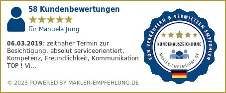Qualitätssiegel makler-empfehlung.de für Ludwig Kinker und      Manuela Jung