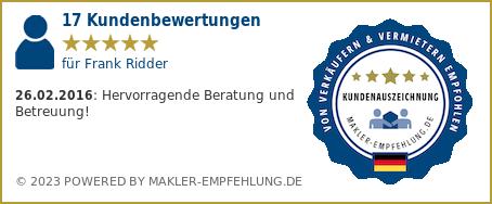 Qualitätssiegel makler-empfehlung.de für Frank Ridder