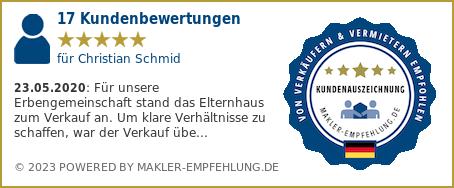 Qualitätssiegel makler-empfehlung.de für Christian Schmid