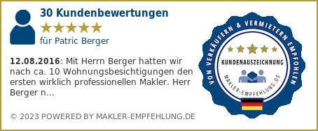 Qualitätssiegel makler-empfehlung.de für Patric Berger