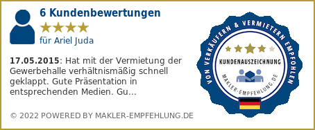 Qualitätssiegel makler-empfehlung.de für Ariel Juda