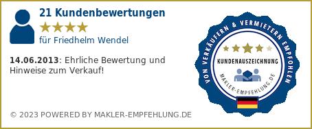 Qualitätssiegel makler-empfehlung.de für Friedhelm Wendel