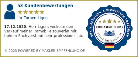 Qualitätssiegel makler-empfehlung.de für Torben Ligon