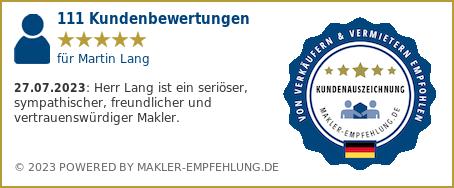 Qualitätssiegel makler-empfehlung.de für Martin  Lang