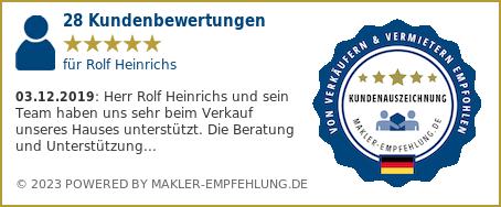Qualitätssiegel makler-empfehlung.de für Rolf Heinrichs