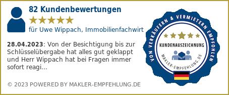 Qualitätssiegel makler-empfehlung.de für Uwe  Wippach