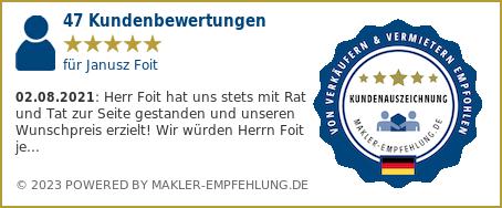 Qualitätssiegel makler-empfehlung.de für Janusz Foit
