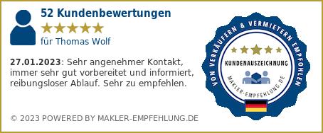 Qualitätssiegel makler-empfehlung.de für Thomas Wolf