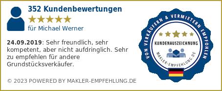 Qualitätssiegel makler-empfehlung.de für Michael  Werner
