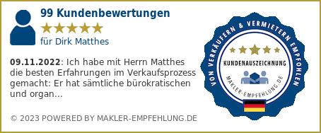 Qualitätssiegel makler-empfehlung.de für Dirk Matthes