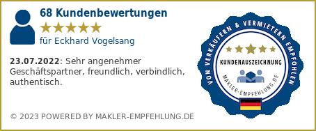 Qualitätssiegel makler-empfehlung.de für Eckhard Vogelsang