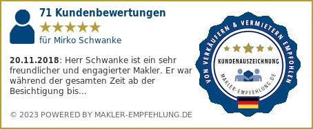 Qualitätssiegel makler-empfehlung.de für Mirko Schwanke