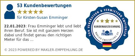 Qualitätssiegel makler-empfehlung.de für Kirsten-Susan Emminger