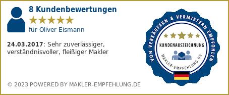 Qualitätssiegel makler-empfehlung.de für Oliver Eismann
