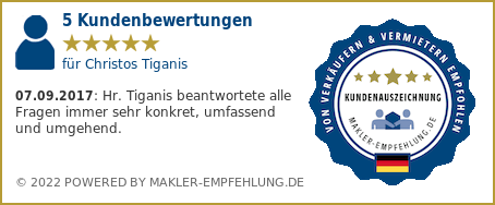 Qualitätssiegel makler-empfehlung.de für Christos Tiganis