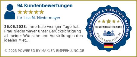 Qualitätssiegel makler-empfehlung.de für Lisa M. Niedermayer