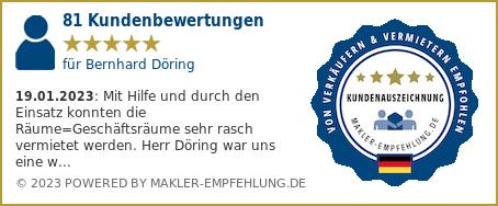 Qualitätssiegel makler-empfehlung.de für Bernhard Döring
