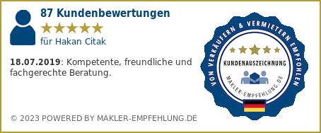 Qualitätssiegel makler-empfehlung.de für Hakan Citak