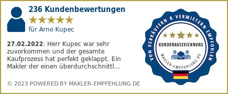 Qualitätssiegel makler-empfehlung.de für Arno Kupec