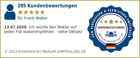 Qualitätssiegel makler-empfehlung.de für Frank Weber