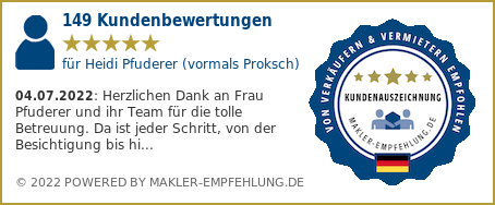 Qualitätssiegel makler-empfehlung.de für Heidi Proksch