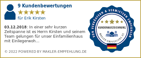 Qualitätssiegel makler-empfehlung.de für Erik Kirsten