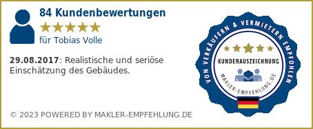 Qualitätssiegel makler-empfehlung.de für Tobias Volle