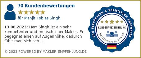 Qualitätssiegel makler-empfehlung.de für Manjit Tobias Singh