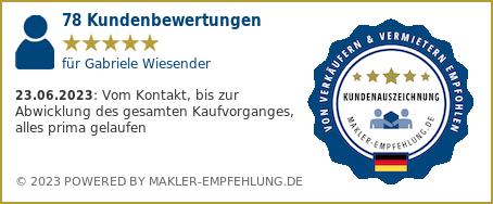 Qualitätssiegel makler-empfehlung.de für Gabriele Jakob Immobilien