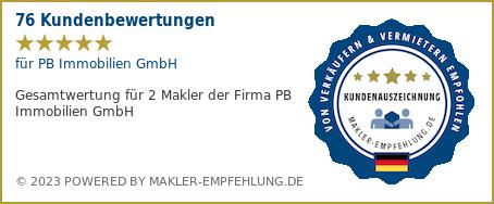 Qualitätssiegel makler-empfehlung.de für PB Immobilien GmbH