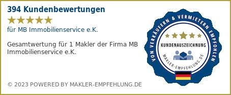 Qualitätssiegel makler-empfehlung.de für MB Immobilienservice e.K.