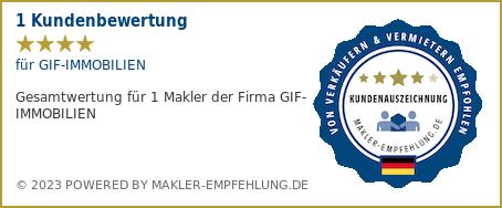 Qualitätssiegel makler-empfehlung.de für GIF-IMMOBILIEN