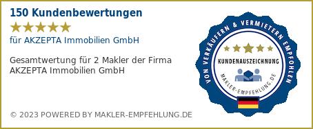Qualitätssiegel makler-empfehlung.de für AKZEPTA Immobilien GmbH