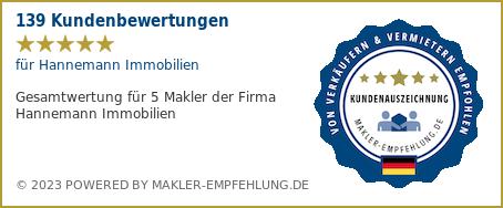 Qualitätssiegel makler-empfehlung.de für Hannemann Immobilien