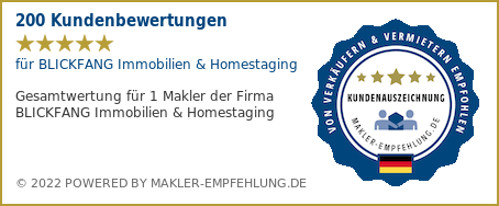 Qualitätssiegel makler-empfehlung.de für BLICKFANG Immobilien