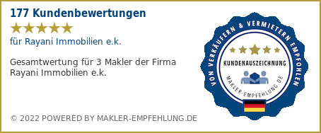 Qualitätssiegel makler-empfehlung.de für Rayani Immobilien e.k. Inhaber Marcel Rayani