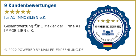 Qualitätssiegel makler-empfehlung.de für A1 IMMOBILIEN e.K.