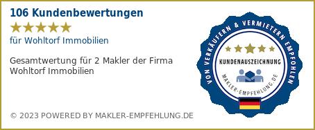 Qualitätssiegel makler-empfehlung.de für Wohltorf Immobilien
